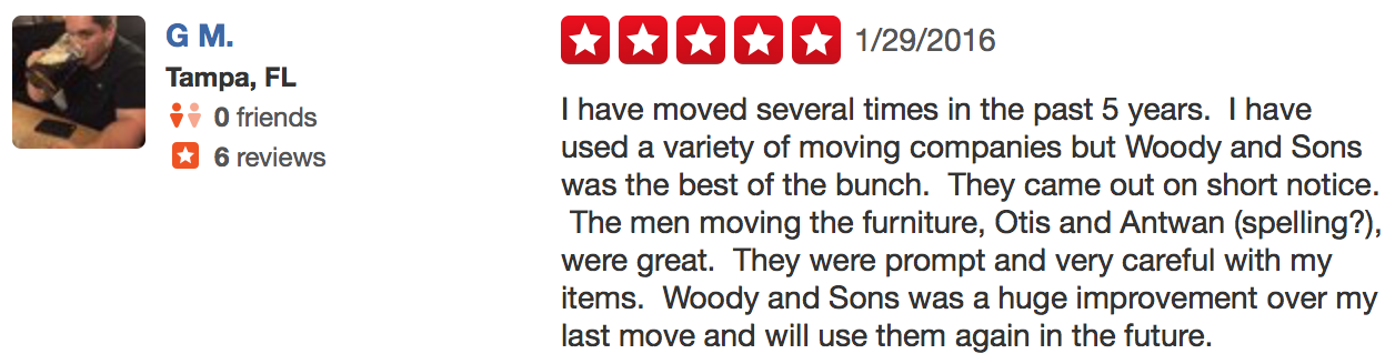 Tampa Bay and Orlando Moving Company Yelp Review
